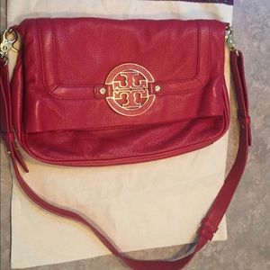 Tory Burch Red Amanda Pebbled Leather Crossbody